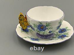 Aynsley Vintage Art Deco Butterfly Handled Tea Cup and Saucer. Rare