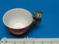Beyer & Bock c. 1920 Art Deco Cat Handle Cup & Dessert Plate RARE EXQUISITE