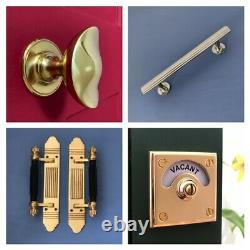 Brass Art Deco Door Pull Handles (10+ Pairs) Large Knobs Plates Finger Push Grab