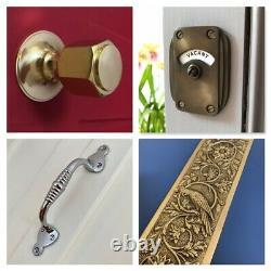 Brass Art Deco Pull Handles (pairs) + Finger Door Push Plates Knobs Grab Large