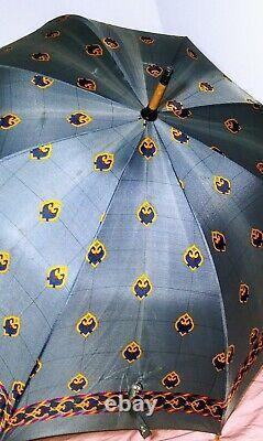CHRISTIAN DIOR Vintage Parapluies Umbrella Blue & Gold Wood Handle 1970's RARE