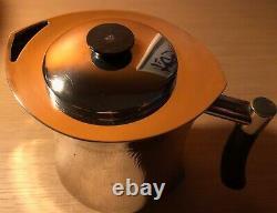 CHRISTOFLE Modernist Hammered Tea Pot Sterling Silver 925 Ebony Handle