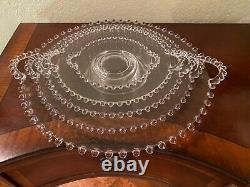 Candlewick Glass Round Handled Trays- Graduated Sizes- set of 5