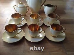 Carlton Ware Yellow Glazed 15 Piece Coffee Set Gilt Handles&Interiors
