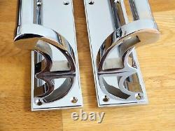 Chrome Art Deco Pull Handles (pairs) Door Plates Knobs Push Grab Edwardian