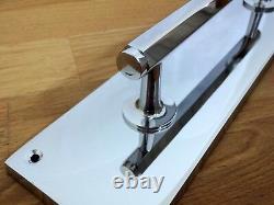Chrome Art Deco Pull Handles (pairs) + Finger Door Push Plates Knobs Grab Large