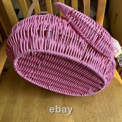 Ciroa Flamingo Large Picnic Basket Pink Wicker Resin California Hello Summer NWT