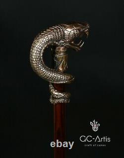 Dragon Snake walking stick bronze cane brass handle wooden shaft collectible