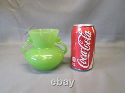 Fenton Jade Green Jadeite 4 3/8 Tall Small Double Handled Vase Jadite 1930's