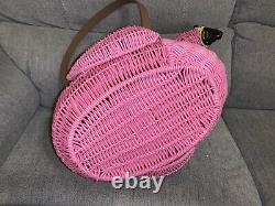 Flamingo Large Picnic Basket Pink Wicker Resin Ciroa California New W Tags HTF