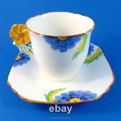 Flower Handle Art Deco with Blue & Yellow Daisies Collingwoods Tea Cup & Saucer