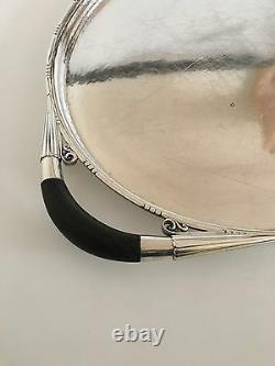 Georg Jensen Oval Sterling Silver Serving Tray No. 251C with Wooden Handles
