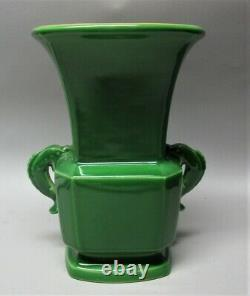 Gorgeous & Rare ROOKWOOD Green Dolphin Handle Art Deco Vase c. 1924 antique