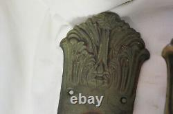 HUGE 21 Cast Brass Ornate Art Deco Entry Door Handles withAttached Backplates