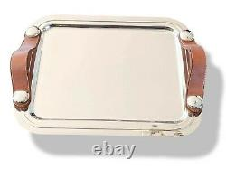 Hermes M3 Home Art Deco Plated Silver Tray SPARTE PM with Leather Handles NEW
