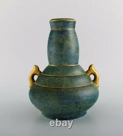 Josef Ekberg for Gustavsberg. Art Deco vase with handles in glazed ceramics