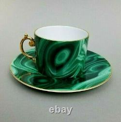 L'Objet Malachite Cup & Saucer Green Gilded Tea Coffee Porcelain New