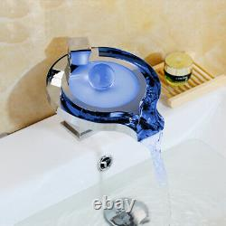 LED Water Power 1 Handle Waterfall Bathroom Sink Mixer Tap Chrome Basin Faucet