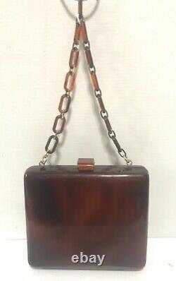 LUCITE brown amber swirl tortoise shell purse handbag shoulder bag link handle