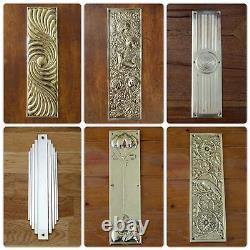 Large Chrome Art Deco Front Door Center Knob Handle Centre Plate Letter Knocker