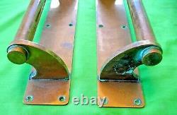Large pair antique reclaim salvaged art deco brass cinema pub door pull handles