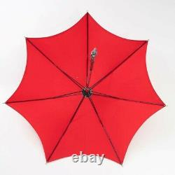 Lord and Taylor 12 Fortuna Umbrella Parasol Red Silk & Silver Handle 31T x 34W