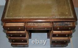 Lovely George III Circa 1780 Double Sided Walnut Partner Desk Original Handles