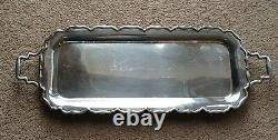 Mappin and Webb Oblong Handled serving silver plated Footed Scalloped Edge tray