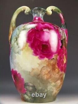 Master Painting Limoges France Hand Painted Roses Muscle Handled 13.5 Vase