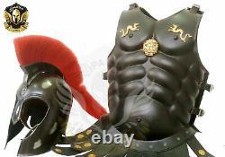 Medieval Spartan Helmet Armour Medieval Chest Plate Black Finish Brass Work