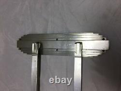One Antique Art Deco Nickel Brass Door Push Pull Handle Vtg Grab Bar 64-18J