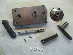 Original Reclaimed Art Deco Walnut Brown Bakelite Rim Lock and Door handles 0208