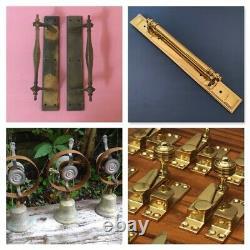 Pair Brass Door Pull Handles Art Deco Large Knobs Plates Grab Edwardian
