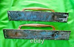 Pair of old antique vintage reclaim art deco bronze pub door pull handles