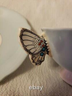 Paragon PASTEL MINT GREEN art deco butterfly handle bone china tea cup & saucer