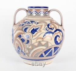 Poole Pottery Art Deco AX Pattern Shape 901 Large Two Handled Vase CSA