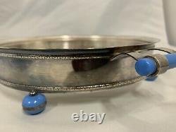 Pyrex Agee Blue 8 Pie Plate with Cradle & Bakelite Handles Australian Pyrex