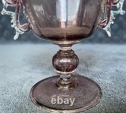 RARE Antique Salviati Murano Applied Handles Optic Cranberry Glass Loving Cup