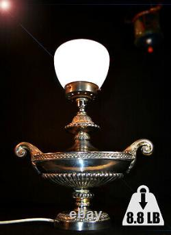 Rare 1940s heavy cast silver plated white metal two-handled Aladdin table lamp