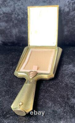 Rare Art Deco Austrian Hand Mirror Powder Compact With Hidden Lipstick Handle