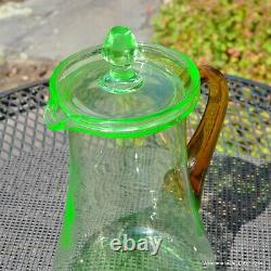 Rare Depression Glass Pitcher And Glass Set, Elegant, Green With Amber Handle