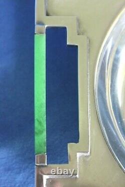 Rare Rockford Sheets Deco ART MODERNE Deco Green Catalin Handle Silver Platter