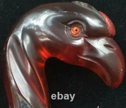 Rare Vintage Art Deco Amber Bakelite Phoenix Bird Walking Stick Handle