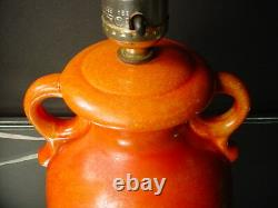 Red Wing Art Pottery Art Deco Handled Lamp 994 Scarlet