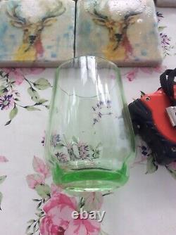 Ribbed Uranium Glass Jug With Handle And Five Matching Glasses Cocktail Set