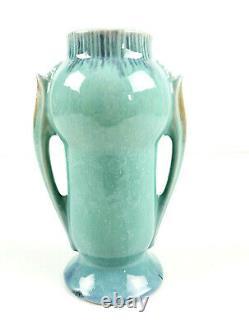 Roseville Pottery Art Deco Orian Orion Turquoise Double Handle Vase 733-6