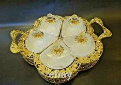 Round Sectional Serving Tray with 5 Snack Dish Dip Bowl Filigree Dessert Platter