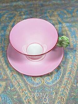 Royal Paragon Art Deco Tea Cup & Saucer Pink With Flower Handle Display Only