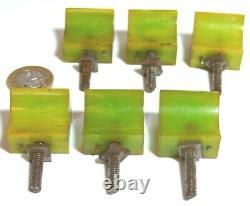 SPLENDID SET X 6 GREEN BAKELITE ART DECO CHEST DRAWERS PULL HANDLES 1920s