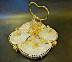 Sectional Serving Tray with 4 Snack Dish Dip Bowl Filigree Dessert Platter Heart